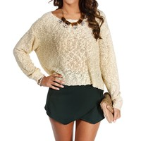Ivory Textured Cropped Sweater