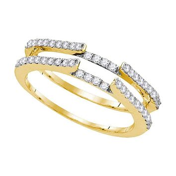 14kt Yellow Gold Women's Round Diamond Ring Guard Wrap Solitaire Enhancer 1/2 Cttw - FREE Shipping (US/CAN)