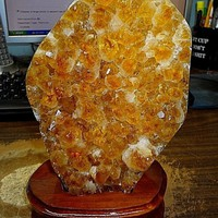 C1 - LARGE POLISHED CITRINE CRYSTAL CLUSTER GEODE FROM BRAZIL CATHEDRAL W' WOOD BASE