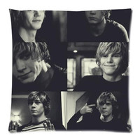 Decorative Throw Pillow Cover Cushion Case&American Horror Story Evan Peters Pillowcase 50%Cotton,50%Polyester Pillow Sham Cushion Cover Size:18x18 Inches(2sides Printed)