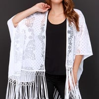 Fringe to the End White Burnout Lace Kimono Top