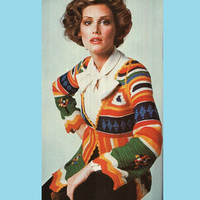 Crochet Pattern Vintage 70s Crochet Cardigan Pattern Mod Jacket Pattern Crochet Sweater Pattern INSTANT DOWNLOAD