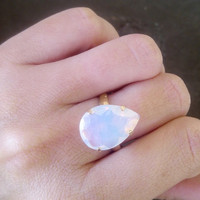 SALE! White opal ring, wedding ring, bridal ring,crystal Swarovski ring, Teardrop ring, Gold ring, Statement ring,cocktail ring