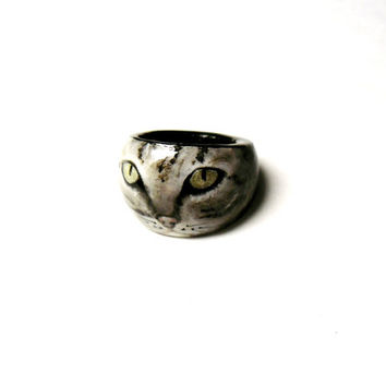 Kitty Cat Portrait, Cat Ring, Made to Order Jewelry, Cat Jewelry, Wooden Hand Painted Kitty Ring, Kitten, Crazy Cat Lady, Memorial Jewelry