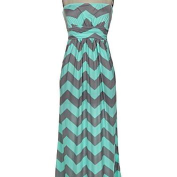 Ocean Breeze Maxi Dress - Mint and Gray