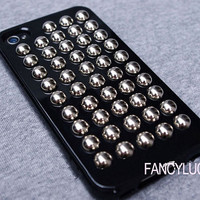 Studded iPhone 4 Case - Personality studded iphone case - studded iphone 4s case punk round studs iphone 4 case black iphone case