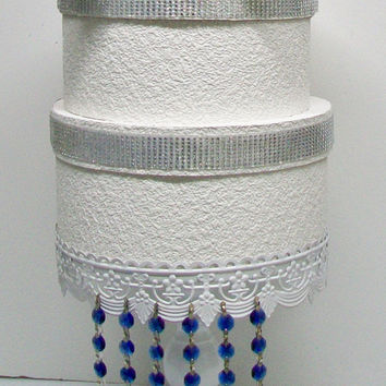 Cake Stand, DIY Hanging Blue Crystals, 6 pc, Crystal Garland Strands, Cupcake Stand, Wedding Wish Tree, Manzanita Branch