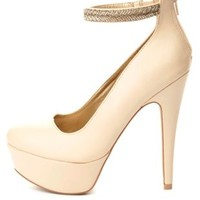 Beaded Ankle Strap Platform Pumps by Charlotte Russe - Nude