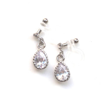 Teardrop Cubic Zirconia Invisible Clip on Earrings, Dangle Wedding Crystal Clip on Earrings, Bridal CZ Clip Earrings, Non Pierced Earrings