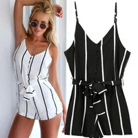 Stylish Stripes Print Spaghetti Strap Shorts Jumpsuit