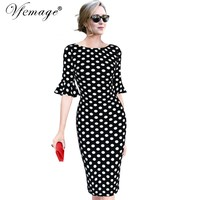 Vfemage Women Elegant Flare Trumpet Bell Sleeve Polka Dot Print Vintage Pinup Casual Work Office Party Bodycon Sheath Dress 7692