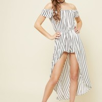 White Striped Pattern Off Shoulder Maxi Romper