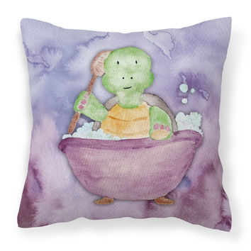 Turtle Bathing Watercolor Fabric Decorative Pillow BB7344PW1414