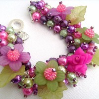 Summer Rose  Pearl Beaded Charm Bracelet  Handmade by KIMMSMITH
