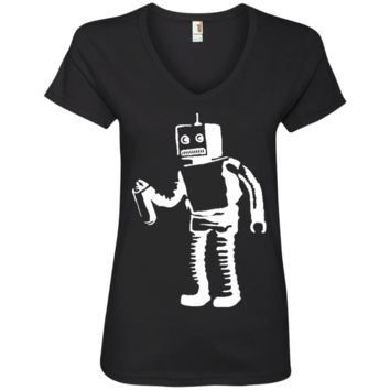 Banksy's Spray Painting Robot Graffiti Ladies' V-Neck T-Shirt