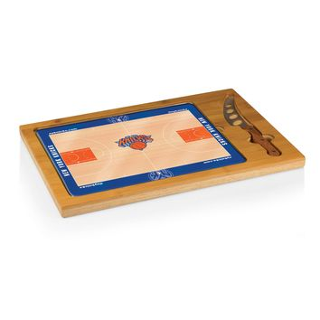 New York Knicks - 'Icon' Glass Top Serving Tray & Knife Set by Picnic Time (Basketball Design)
