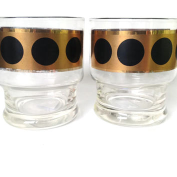 Bar Glasses, Gold with Black Polka Dots, Rocks, Whiskey Glasses, S/2, Mid-Century, Mad Men
