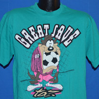 90s Tazmanian Devil Taz Soccer Goalie Great Save Teal t-shirt Large