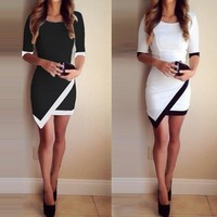 Patchwork Elegant Dresses Bodycon Pencil Short Mini Dress