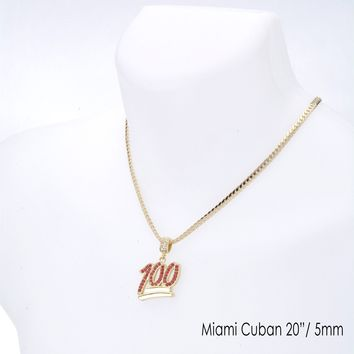 "Jewelry Kay style Men's Red CZ 100 Emoji Pendant 20"" / 24"" Miami Cuban Chain Necklace MCP 1068 GRd"