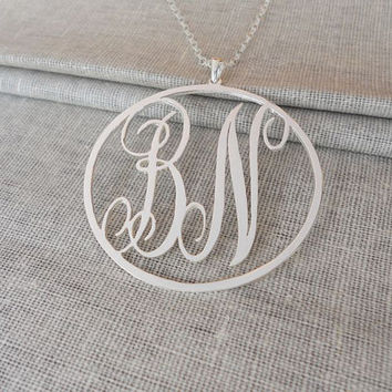 Silver Initials Necklace,Monogram Initials Necklace,Personalized Monogram Necklace,Monogram Jewelry,Two Initials Necklace,Bridesmaid Gift