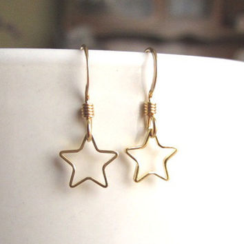 Tiny Gold Star Ring Earrings- Cute everyday wear