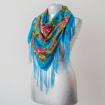 Turquoise Scarf Floral Scarf Russian Scarf Soviet Scarf Large Scarf Winter Scarf Fringe Scarf Women Fashion Women Scarf WOmen Accessory