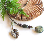 Beaded bookmark, book thong, nature, leaves, forest green