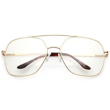 Retro Oversize Square Metal Clear Lens Aviator Glasses A937