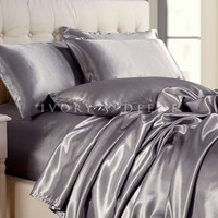 Platinum Silver Satin Sheet Set