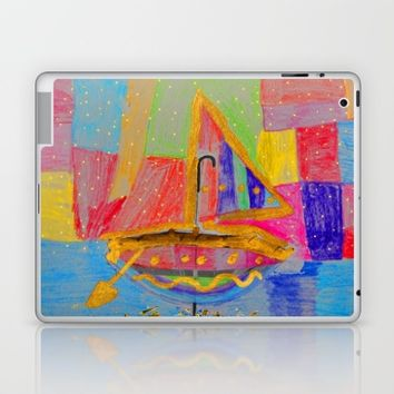 When an umbrella transforms into a boat on Christmas night Laptop & iPad Skin by Azima