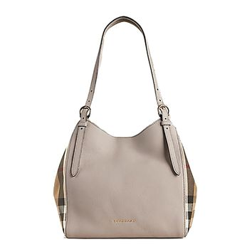 Tote Bag Handbag Authentic Burberry Small Canter in Leather and House Light Grey Melange Made in Italy