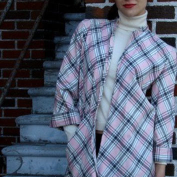 Mid Century Vintage 1950s Plaid Topper Jacket, Swing Jacket in Pink Black and White 100% Cotton Size Small