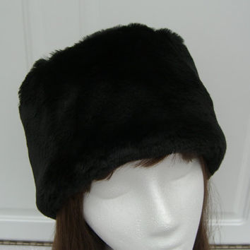Rich Black Faux Fur Hat, Smooth Beaver Faux Fur Hat, Bucket Hat, Women's Winter Hat