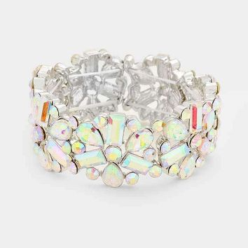 Floral Glass Crystal Stone Marquise Stretch Bracelet