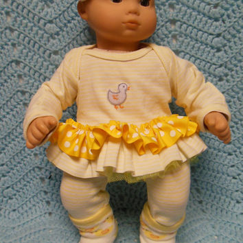 "AMERICAN GIRL Bitty Baby Clothes ""One Little Duckie"" (15 inch) doll outfit top dress, leggings, booties/ socks, and headband / hair clip"
