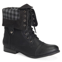 Aeropostale Plaid Foldover Boot - Black, 6