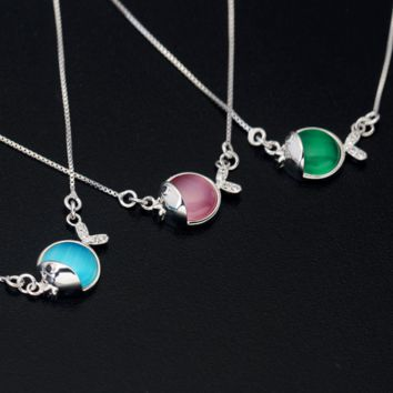 Lovely opal fish 925 sterling silver necklace, a perfect gift !