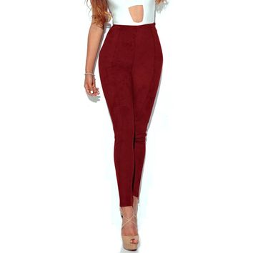 Skinny Corduroy Pants Stretch Bodycon Bandage High-Waist Full-Length Pants