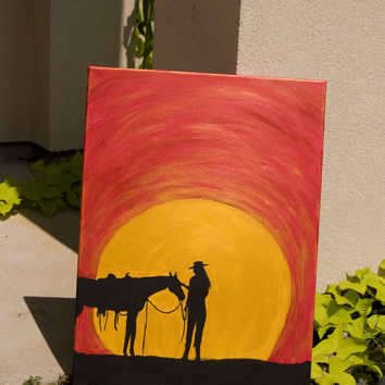 "FREE SHIPPING  ""A Cowgirl and Her Horse""   An Acrylic Painting of a Cowgirl with Her Horse with a Sunset Silhouette"