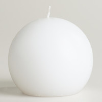 White Unscented Ball Candle - World Market