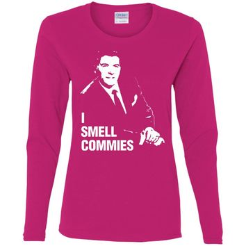 Ronald Reagan I Smell Commies Funny Political T-Shirt-01  G540L Gildan Ladies' Cotton LS T-Shirt