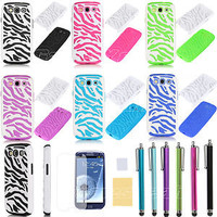 Zebra Combo Hybrid Hard Case Silicone Cover For Samsung galaxy SIII S3 i9300 Pen