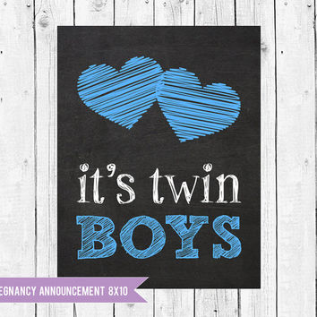 Twins Pregnancy Announcement Chalkboard // Twin boys pregnancy reveal photo prop // Pregnant With Twins Instant Download JPEG Printable