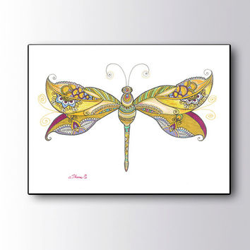 Yellow Dragonfly Painting Canvas Print, Paisley art Dragonfly Drawing, Large Giclee PRINT Christmas gift idea, Zentangle Art Boho wall decor