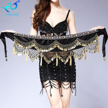 Belly Dance Costume Hip Scarf  Indian Dancer Belt Belly Dancing Hipscarf Gold Conis Bellydance Wrap Skirt Velvet Performance