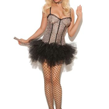 Feline FiFi - 4 pc costume includes tutu dress, detachable  tail, neck piece and cat ears head band Animal Print