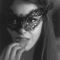 The Vampire diaries Katherine's Black Metal Filigree Mask, Laser Cut Masquerade Ball Mask, Detailed Clear Swarovski Rhinestones (For Her)