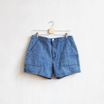 Blue sea shorts / Vintage shorts / Hight waist Denim shorts / Blue shorts with white bottons / Nautical shorts / Blue shorts / Jeans shorts
