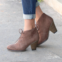 Shawna Lace Up Bootie {Taupe}